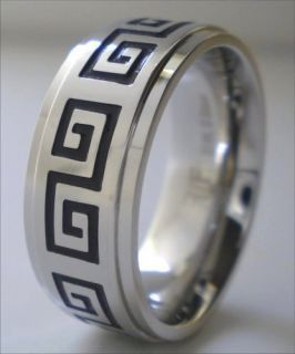 Greek Key Ring Stainless Steel Band Size 13 New Mens Rings Jewelry
