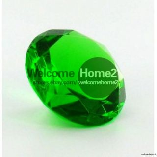 Green Color Glass Paperweight Measures 4 Diameter Diamond Shaped