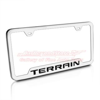 GMC Terrain Brushed Stainless Steel Auto License Plate Frame New Free