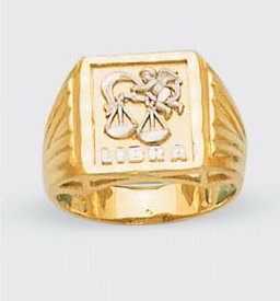 Mens Solid 14k Two Tone Gold Zodiac Ring Libra