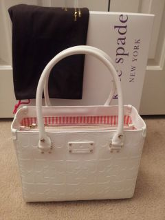 Kate Spade Quinn Embossed Ace of Spades Purse Bag White