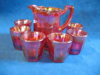Red Carnival Glass Miniature Pitcher and 6