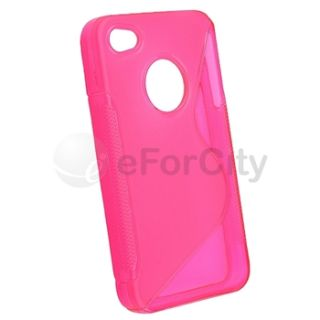 Pink S Shape Hard TPU Candy Case Cover For iPhone 4 4S 4G 4GS 4G