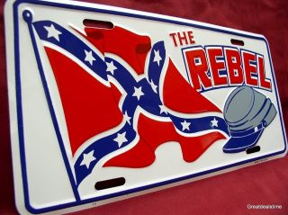The Rebel Flag Kepi Hat Novelty Embossed Car Tag License Plate Sign