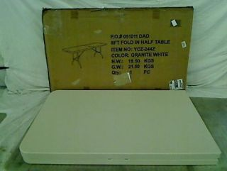 Blow Molded Plastic Folding Table in Granite White