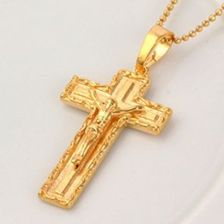 9K Yellow Gold Filled Mens Cross Pendant 30347