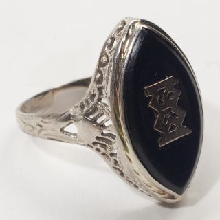 Antique Art Deco 14k White Gold Onyx Filigree Ring 1931 Vintage Fine