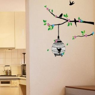 Tree Green Pink Bird Cage Removable Wall Decals Vinyl Decor Sticker