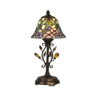Dale Tiffany Crystal Peony Accent Table Lamp in Antique Golden Sand
