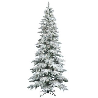 Flocked Utica Fir 7.5 Artificial Christmas Tree with Clear Lights