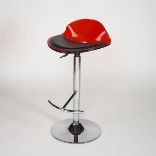 Chintaly Adjustable Swivel Stool with Acrylic Domed Shaped Seat in Red
