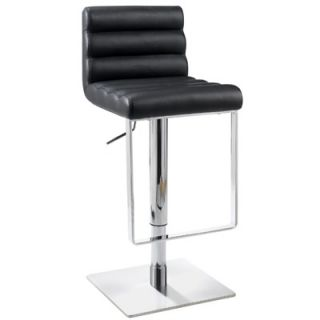 Chintaly Adjustable Swivel Stool with Cushioned Back in Black   0830