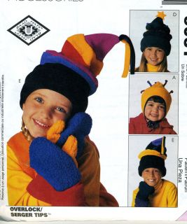 Kids Girl Boy Fleece Hats Mittens Sewing Pattern McCalls 9061