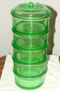 Hazel Atlas Green Depression Glass Stacking Jars Refrigerator Dishes w
