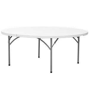 Heavy Duty White Granite Round Plastic Folding Table 29 High