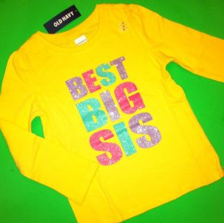 New Best Big SIS Baby Girls Sister Graphic Shirt 4T Gift Yellow Cute