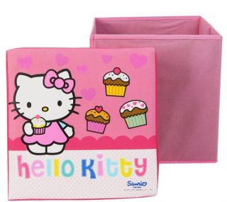 Hello Kitty Pink Storage Toy Box Container with Padded Seat Stool New