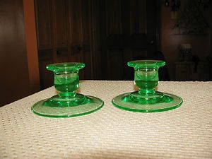HAZEL ATLAS GREEN DEPRESSION GLASS MATCHING CANDLE STICK HOLDERS EX