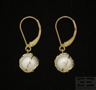 designer 14k yellow gold wrapped cultured freshwater pearl earrings