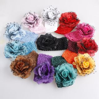 New 12pcs Baby Girls Crochet Headband with Flower Hair Band Free