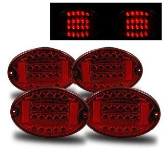 Chevrolet Corvette 2001 2004 LED Tail Lights Red (Fits Z06 Coupe 2