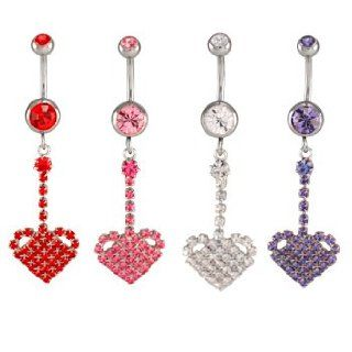 Clear Jeweled Heart Dangles Belly Ring   14g (1.6mm), 3/8