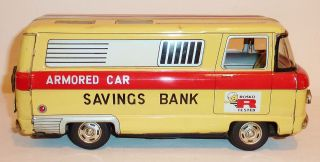 HAYASHI Japanese Tin Litho Friction 1960s ARMORED CAR SAVINGS BANK VAN
