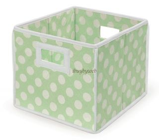 Green Polka Dot Nursery Basket Storage Cube Set of 2