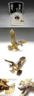 The American Bald Eagle Herbert Rosenthal Diamond Ruby Brooch 18K Gold
