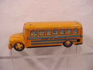 Vintage Tin Toy Friction School Bus Line Mar Japan Side Louis Marx Co