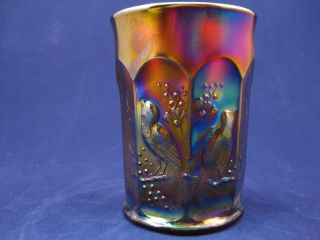 NORTHWOOD CARNIVAL GLASS AMETHYST TUMBLER SINGING BIRDS PATTERN #8