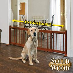 Wooden Expandable Pet Gate 20 High by 36 to 58 Long Fits Every Doorway