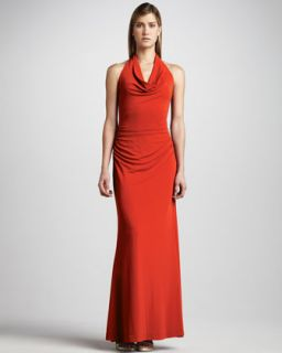 gown available in new coral $ 440 00 nicole miller drape neck jersey