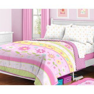 Pink, Yellow & Green Daisy Flowers Girls Twin Comforter
