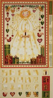 AN GORGEOUS ANGEL CHRISTMAS HOLIDAY ADVENT CALENDAR FABRIC PANEL