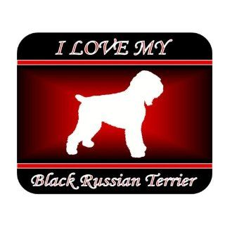 I Love My Black Russian Terrier Dog Mouse Pad   Red