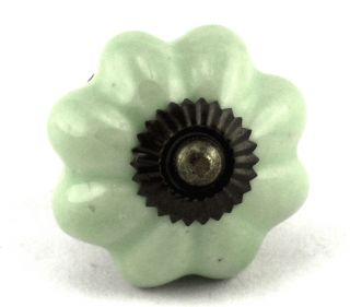 Green Ceramic Cabinet Knobs Kitchen Drawer Pulls Furniture Handle 74AB