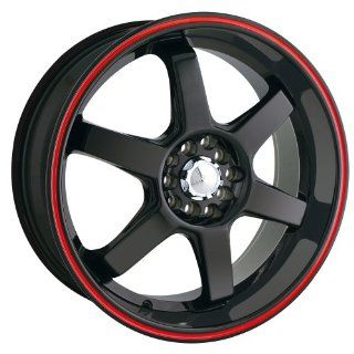 18x7.5 Akita AK 55 (455) (Black w/ Red Wing) Wheels/Rims 4x100/114.3