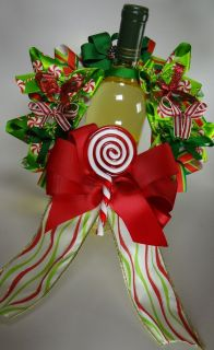 Handmade Christmas Candy Canes & Swirls Wine Wreath Red, Green