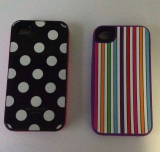 Two Kate Spade Apple iPhone Cases 4 4S Purple Stripes Polka Dots Used