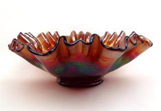 Holly by Fenton Amethyst Carnival Glass 9 3 in 1 Edge Bowl Great