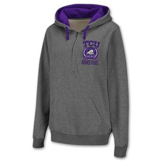 TCU Horned Frogs Half Zip NCAA Womens Hoodie Grey
