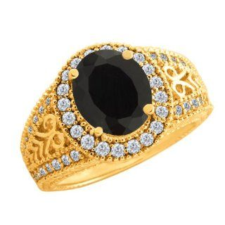 69 Ct Oval Black Onyx White Diamond 10K Yellow Gold Ring Jewelry