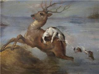 19th Century Oil Painting Hunting Scene Stag Dogs