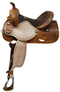 Barrel Style Saddle w/ Pre turned Stirrups in MED Oil Horse Tack NEW