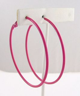Retro Hot Pink Enamel Hoop Earrings