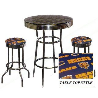 Chicago Bears NFL Football Glass Top Chrome Bar bistro