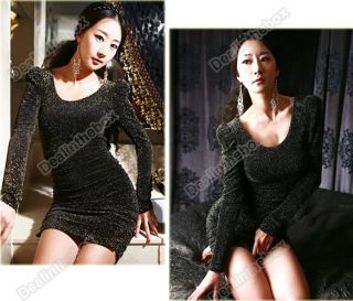 Fashion Korea Women Sexy Sparkling Puff Long Sleeve Mini Dress