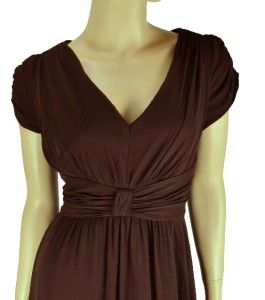 Suzi Chin New 100 Silk Brown Cap Sleeve Empire Waist Chiffon Dress