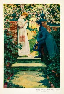 World Young Romance Garden Lovers Cherry Blossoms Howard Pyle